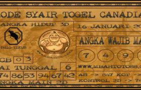 Syair Togel Canadia 16 Januari 2020