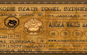 Syair Togel Sydney 23 Januari 2020