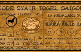 Syair Togel Saigon 13 Februari 2020