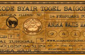 Syair Togel Saigon 14 Februari 2020