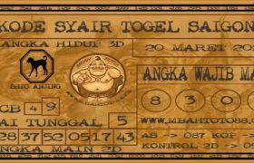 Syair Togel Saigon 20 Maret 2020