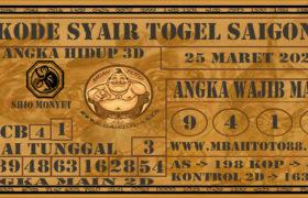 Syair Togel Saigon 25 Maret 2020