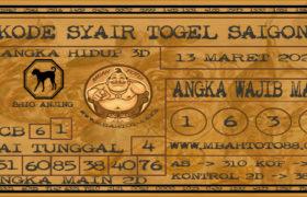 Syair Togel Saigon 13 Maret 2020