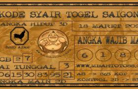 Syair Togel Saigon 18 Maret 2020