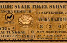 Syair Togel Sydney 11 September 2020