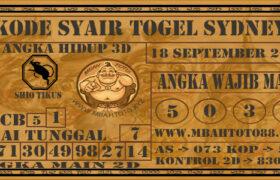 Syair Togel Sydney 18 September 2020