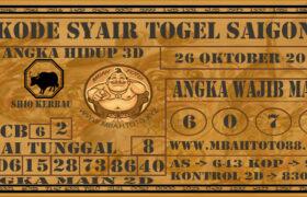 Syair Togel Saigon 26 Oktober 2020