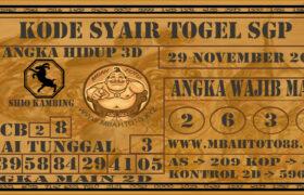 Syair Togel Singapura 29 November 2020