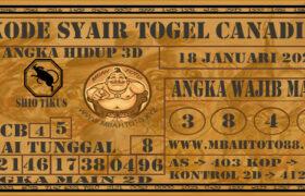 Syair Togel Canadia 18 Januari 2021