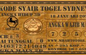 Syair Togel Sydney 18 Januari 2021