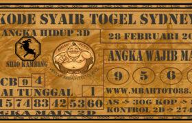 Syair Togel Sydney 28 Februari 2021