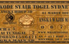 Syair Togel Sydney 01 Maret 2021